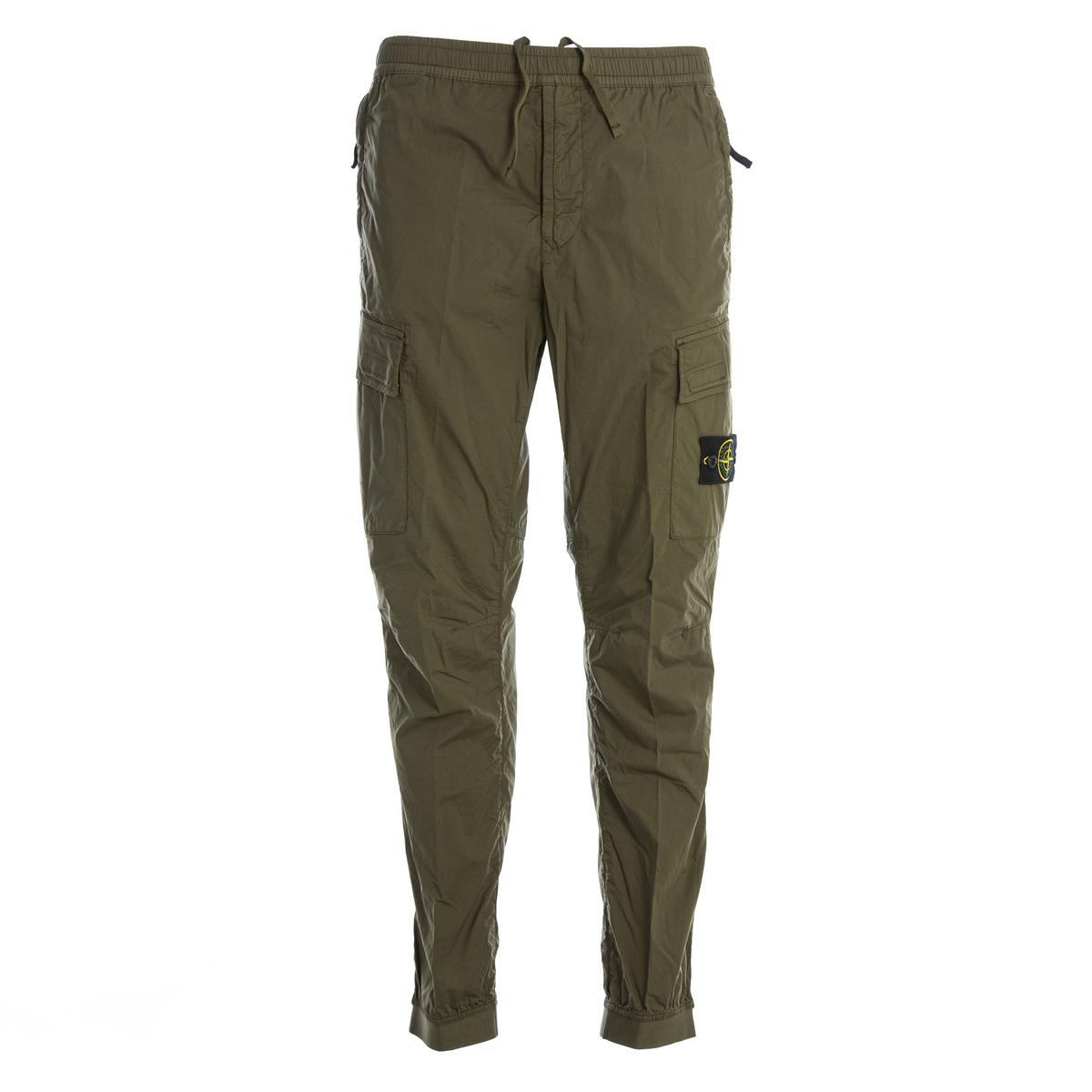 Pantalone Cargo in popeline light stretch Stone Island Verde Oliva