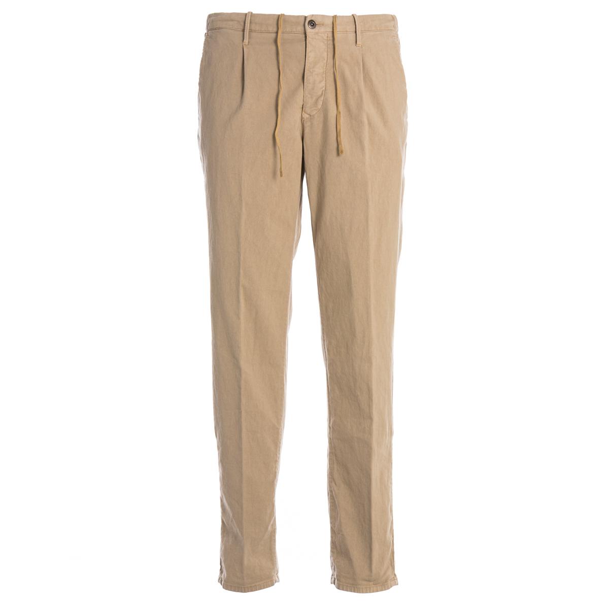 Pantalone Pence e Coulisse Incotex Slacks Beige modello Tappered