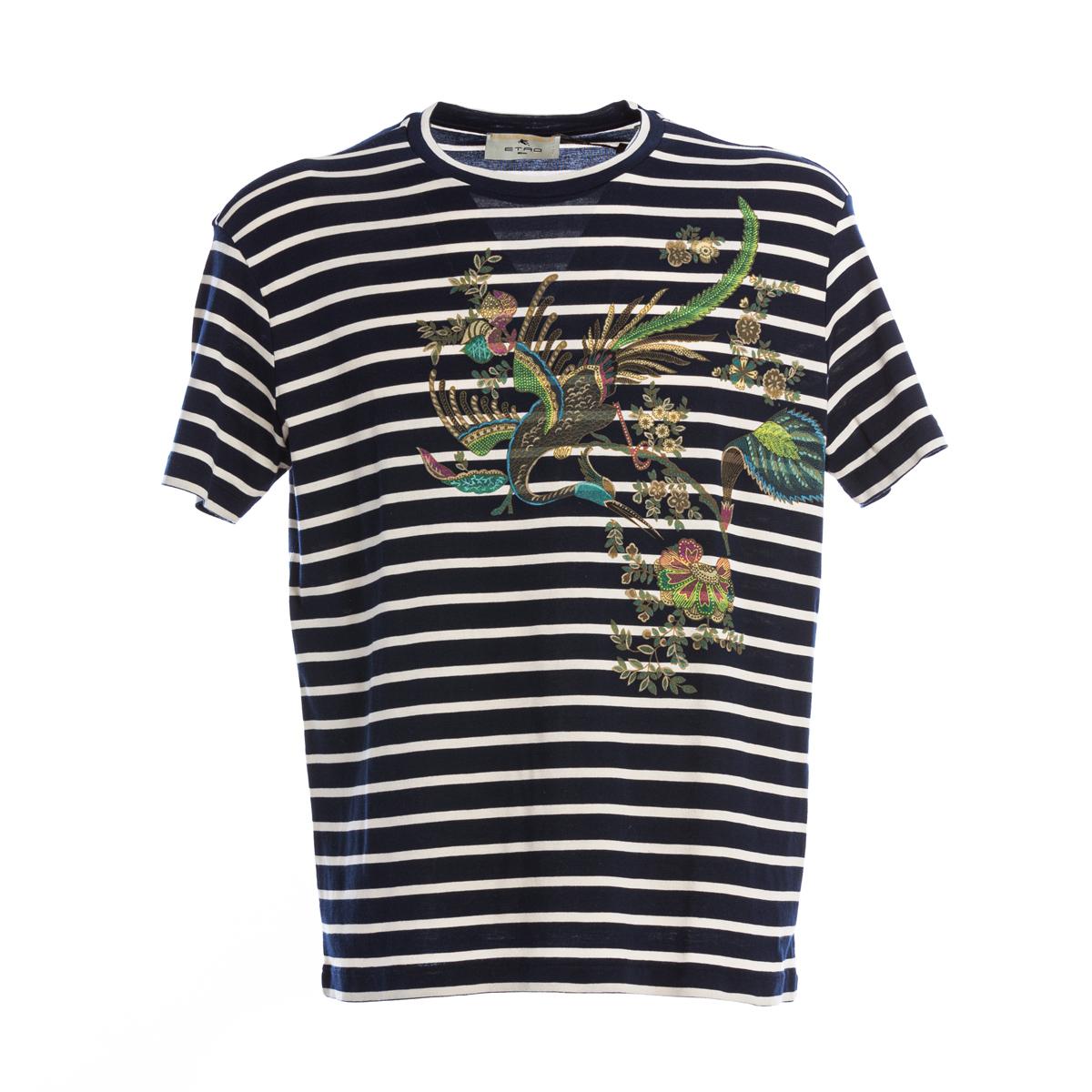 T-shirt Etro blu a righe bianche