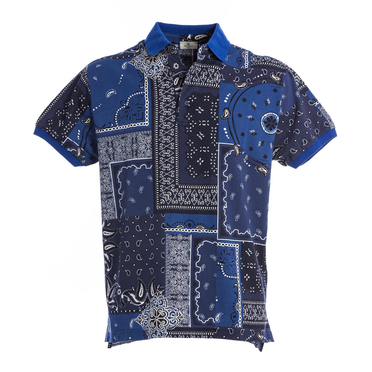 Polo Manica Corta Etro Stampa Bandana Blu
