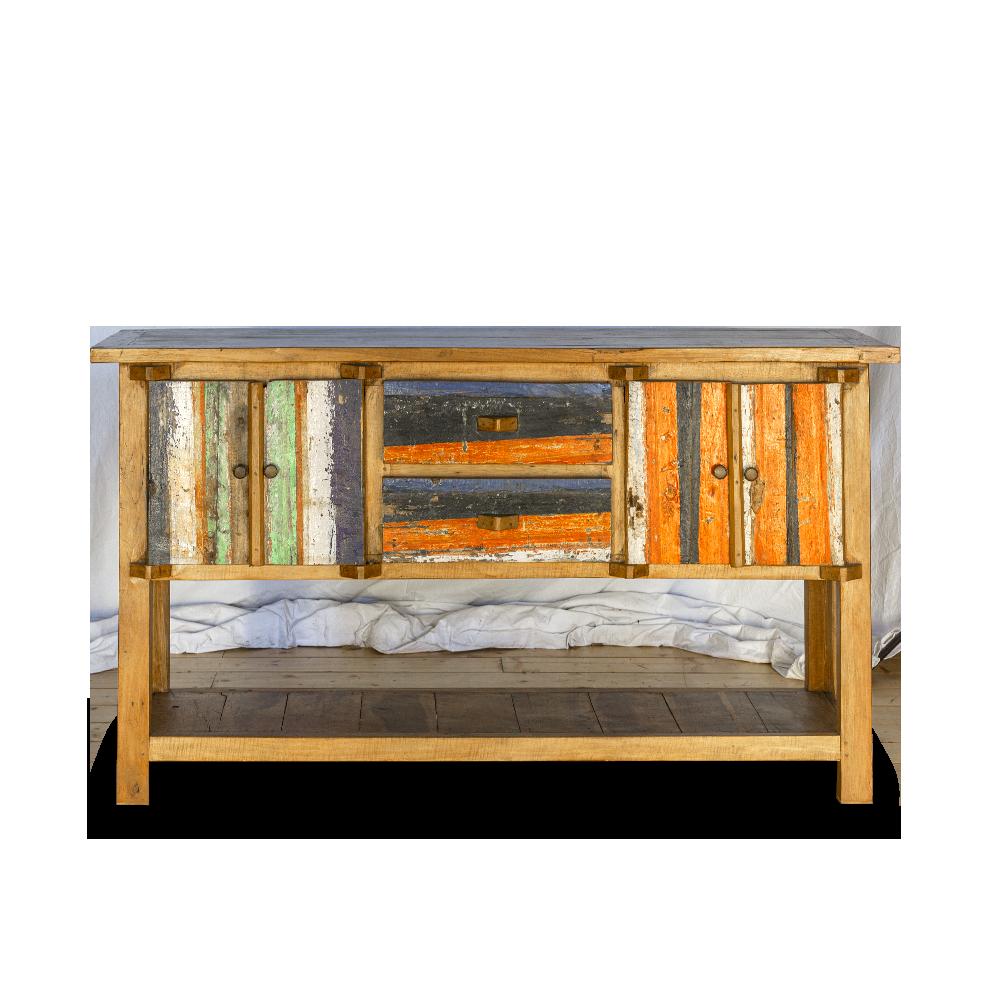 Consolle in legno di teak recycle from boat con ante e cassetti