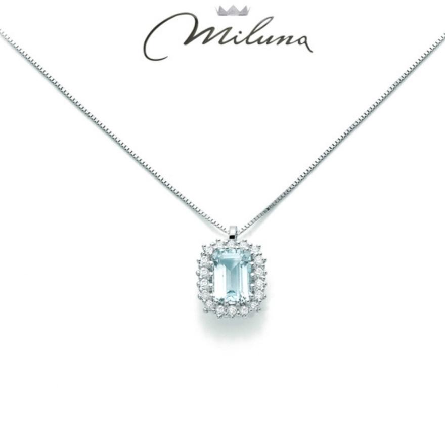 Collana Miluna acquamarina e diamanti