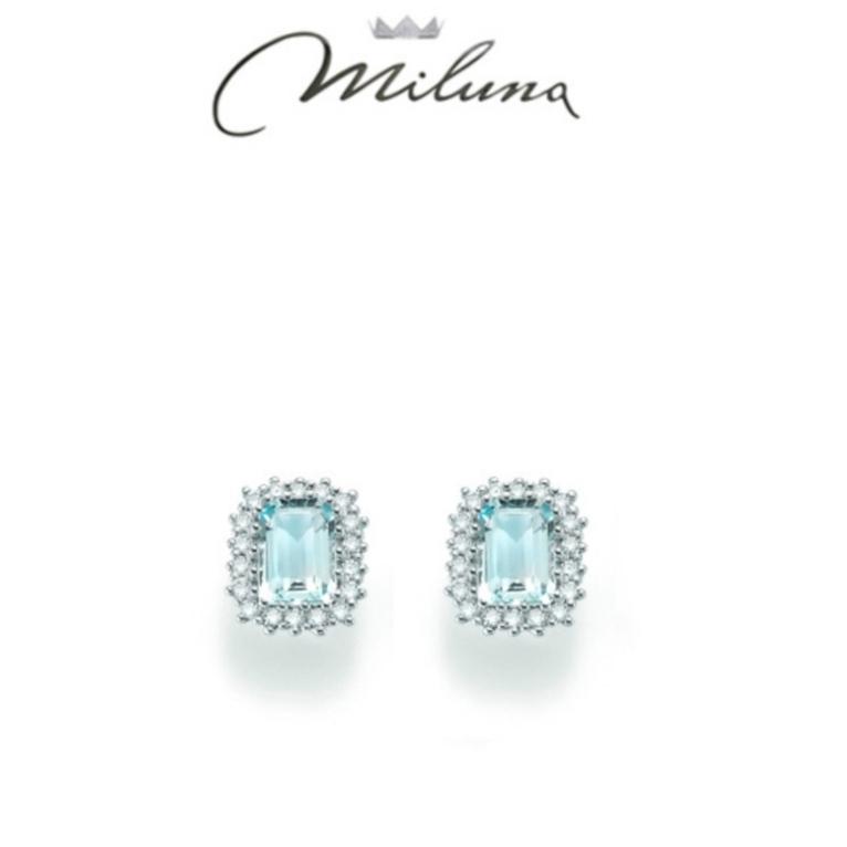 Orecchini Miluna acquamarina e diamanti