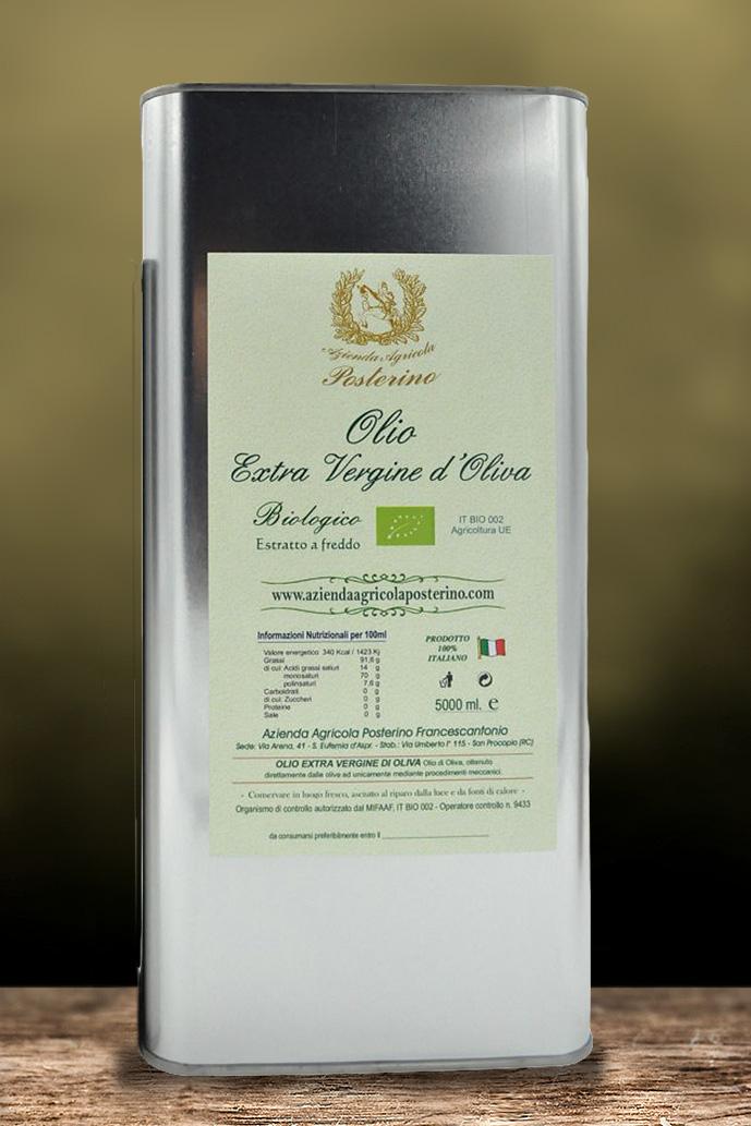 Olio biologico  extra vergine d'oliva 100% Ita  lt 5