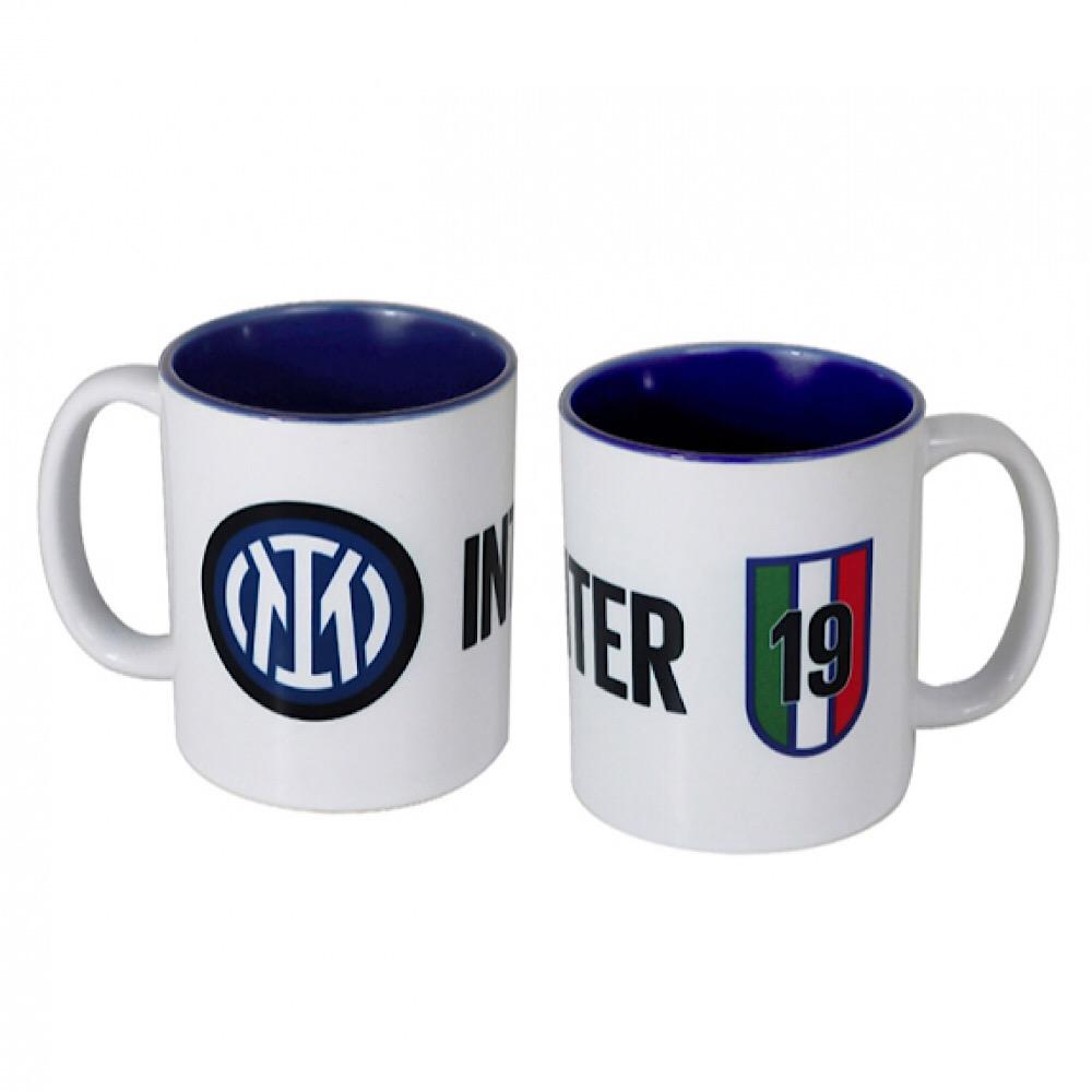 Tazza Inter in ceramica bianca con interno blu scudetto 19