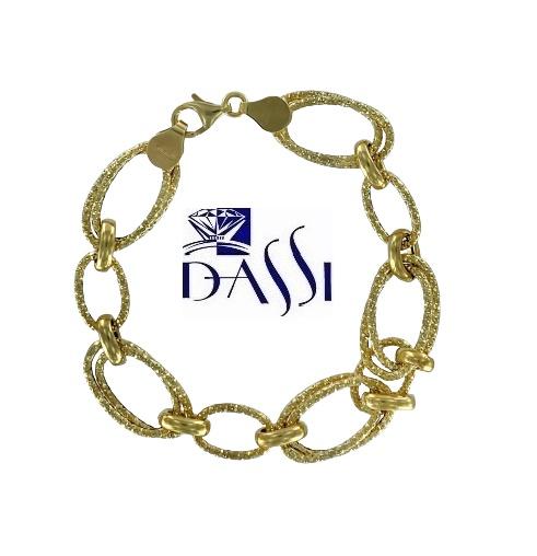 Bracciale in oro giallo 18kt vuoto, formato da maglie ovali diamantate