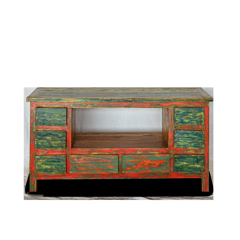 Porta TV con 8 cassetti in legno di teak recuperato dalle vecchie imbarcazioni