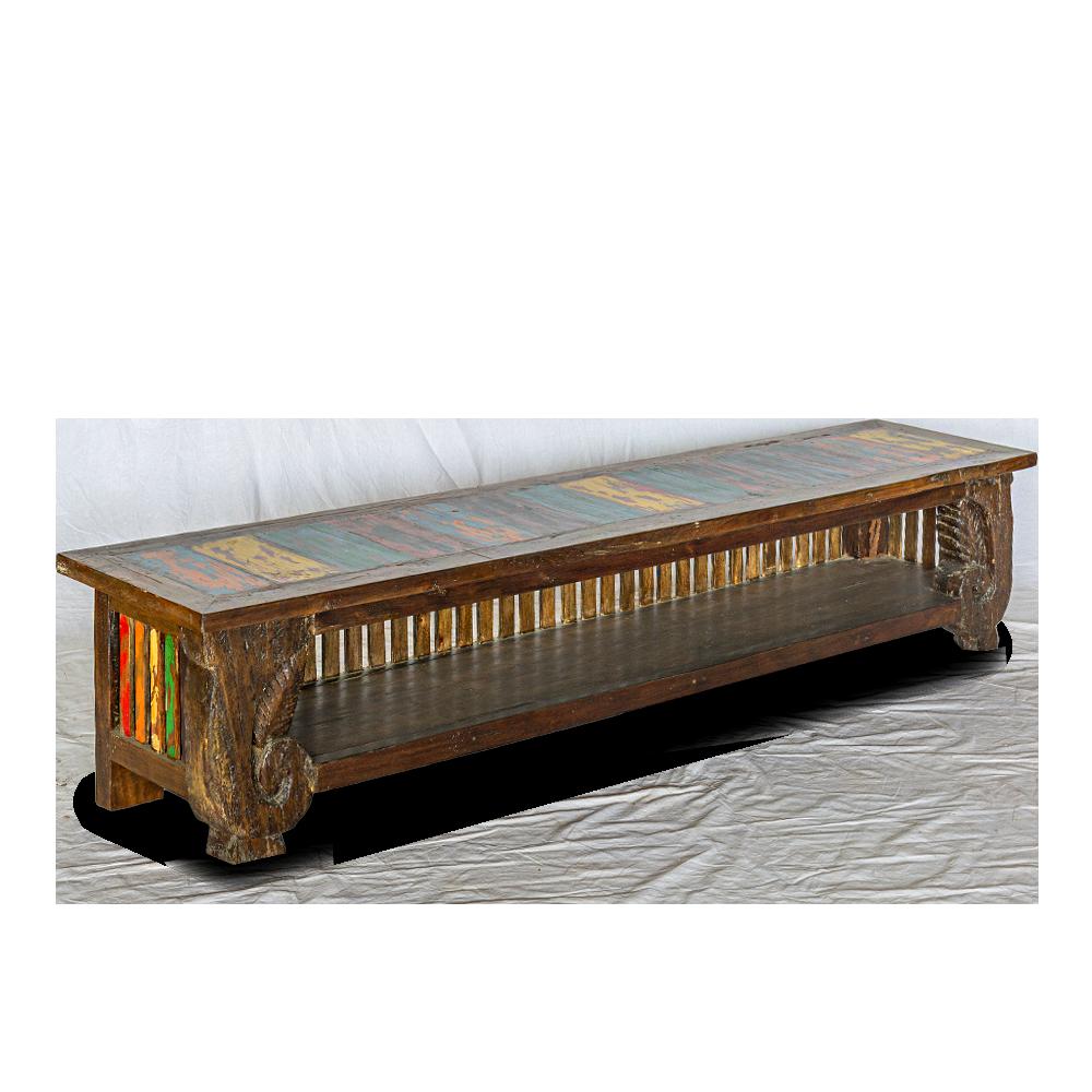 Porta-tv basso in legno di teak riciclato