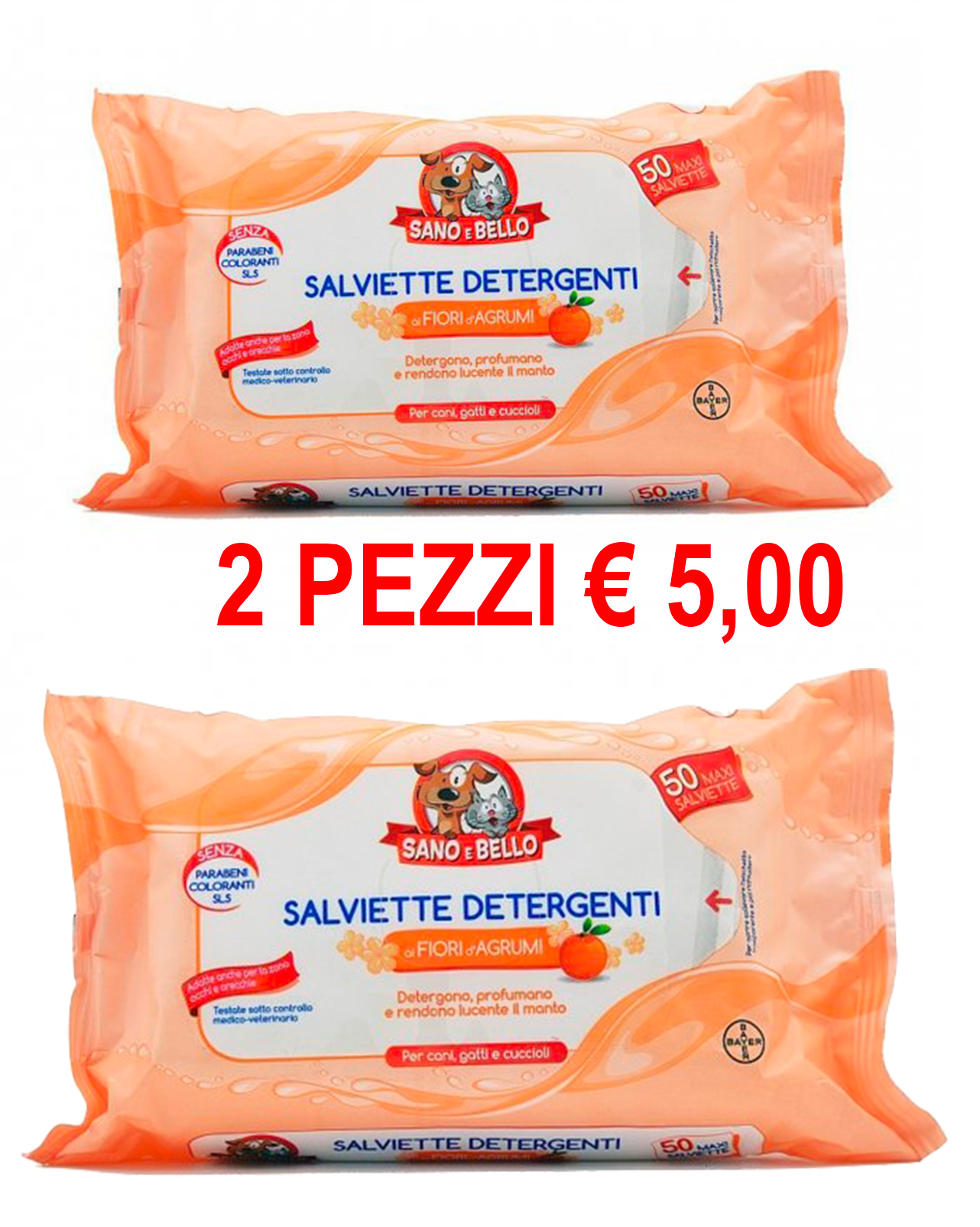 BAYER Salviette Detergenti ai Fiori d'Agrumi 50 PEZZI