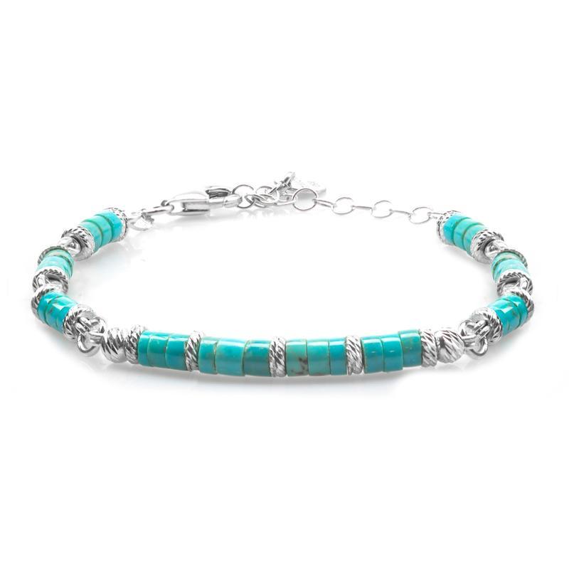 Goyatè - Bracciale Avior Turquoise Uranus rondelle diamantate argento