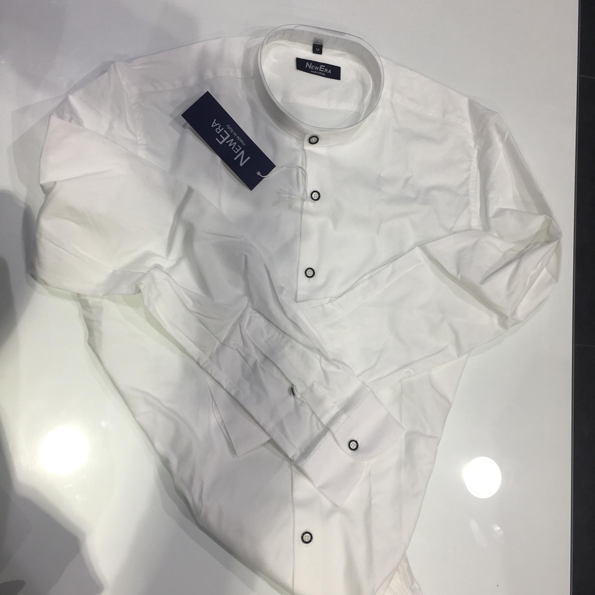 Camicia coreana bianca uomo slim fit