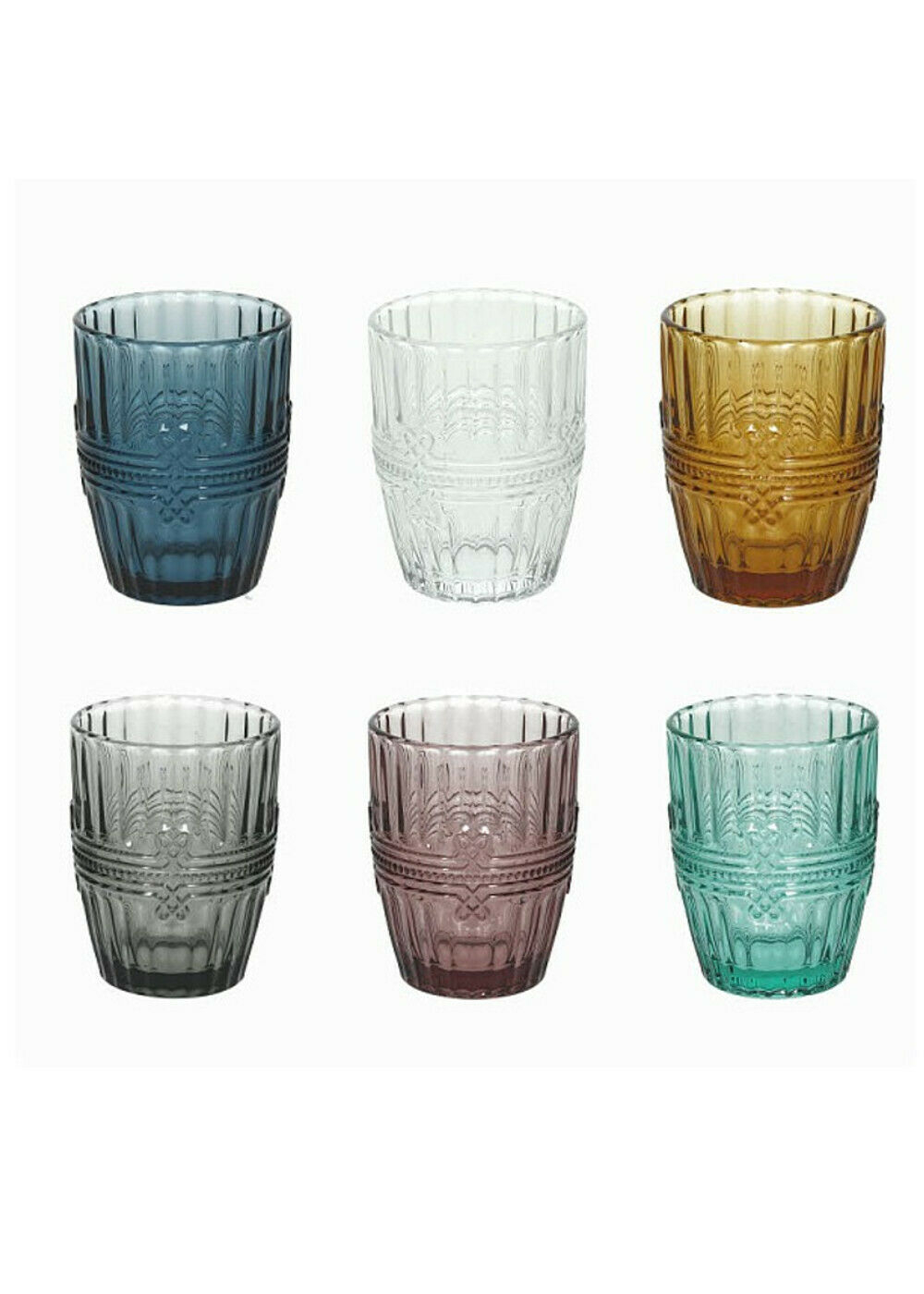 Tognana Ionico Confezione di 6 Bicchieri Da Acqua 280 cc Multicolore Trasparente In Vetro Ricamato