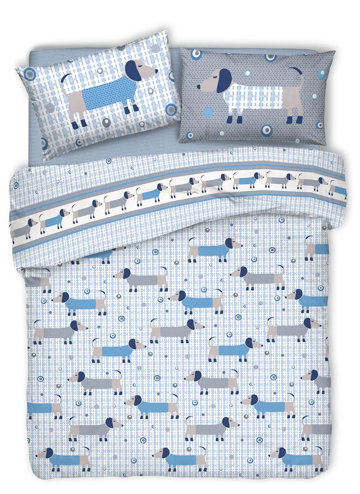 BASSOTTI - Parure da letto Azzurro