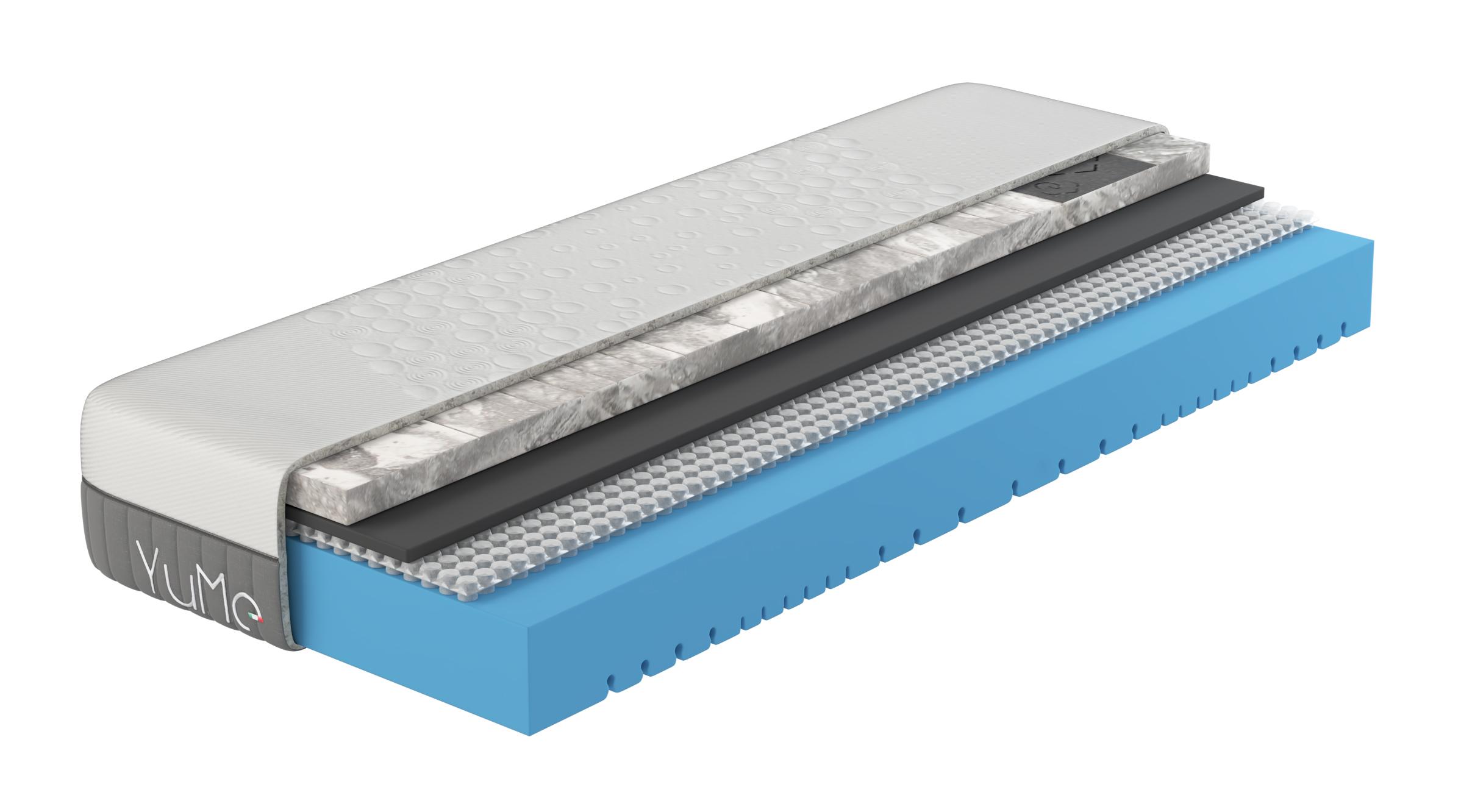 YuMe materasso singolo - memory in grafite e ioni d'argento