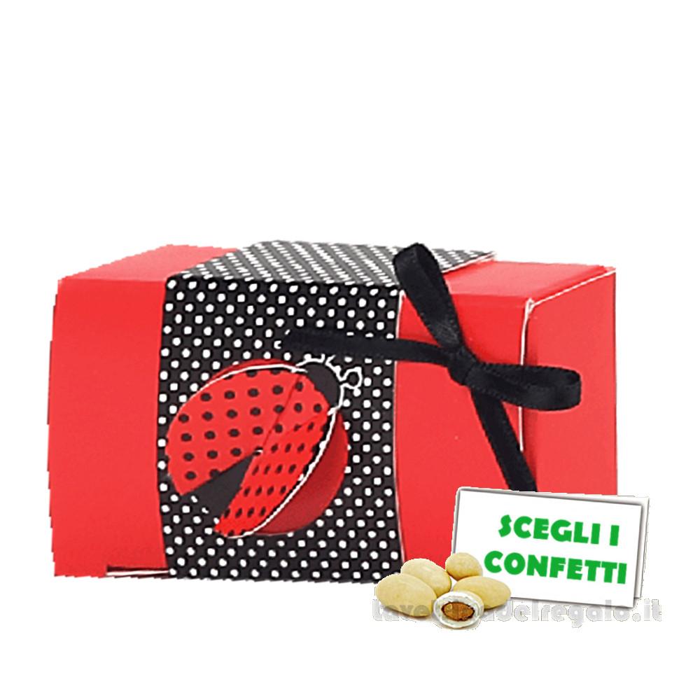 Portaconfetti rettangolare Rosso e Nero con Coccinella 7x4x2 cm - Scatole laurea
