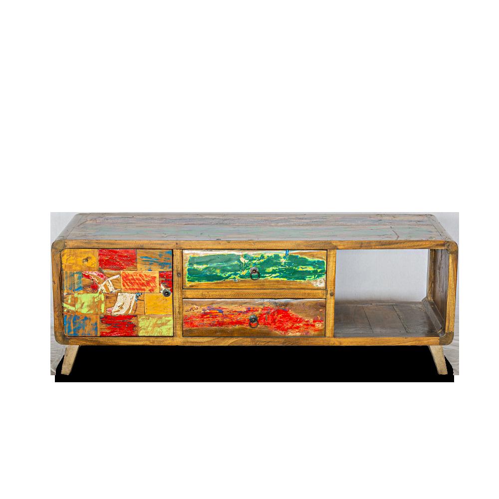 Porta Tv in legno di teak recuperato dalle vecchie barche con 2 cassetti / 1 anta / 1 ripiano