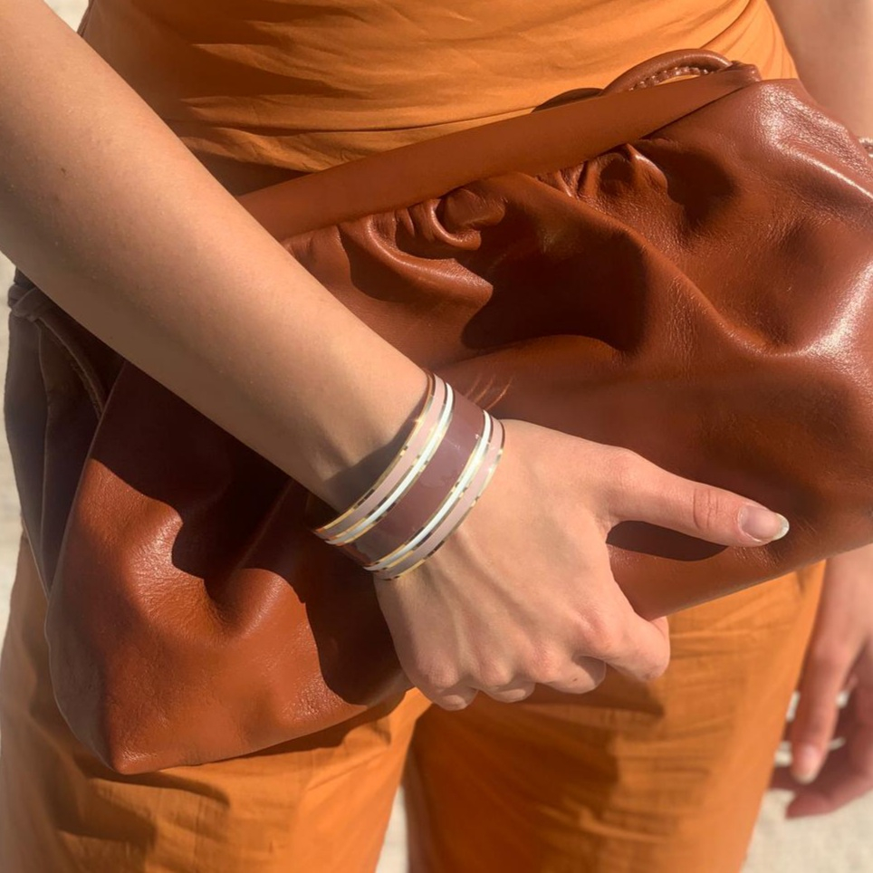 Bracciale aperto rigato rosa Francesca Bianchi Design