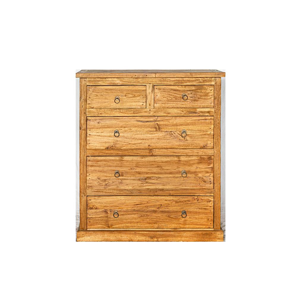 Cassettiera in legno di teak 5 cassetti naturale