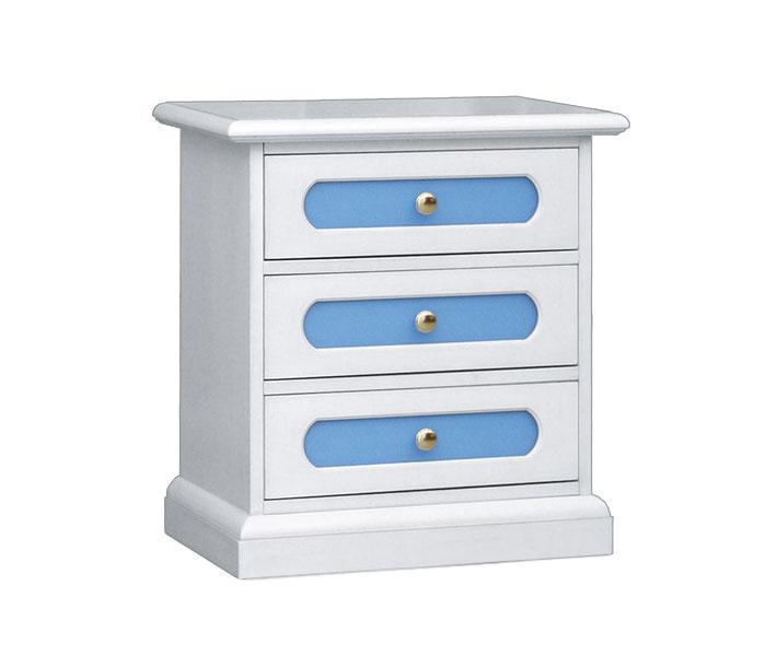 Zweifarbiger Nachttisch - blau - 3 Schubladen