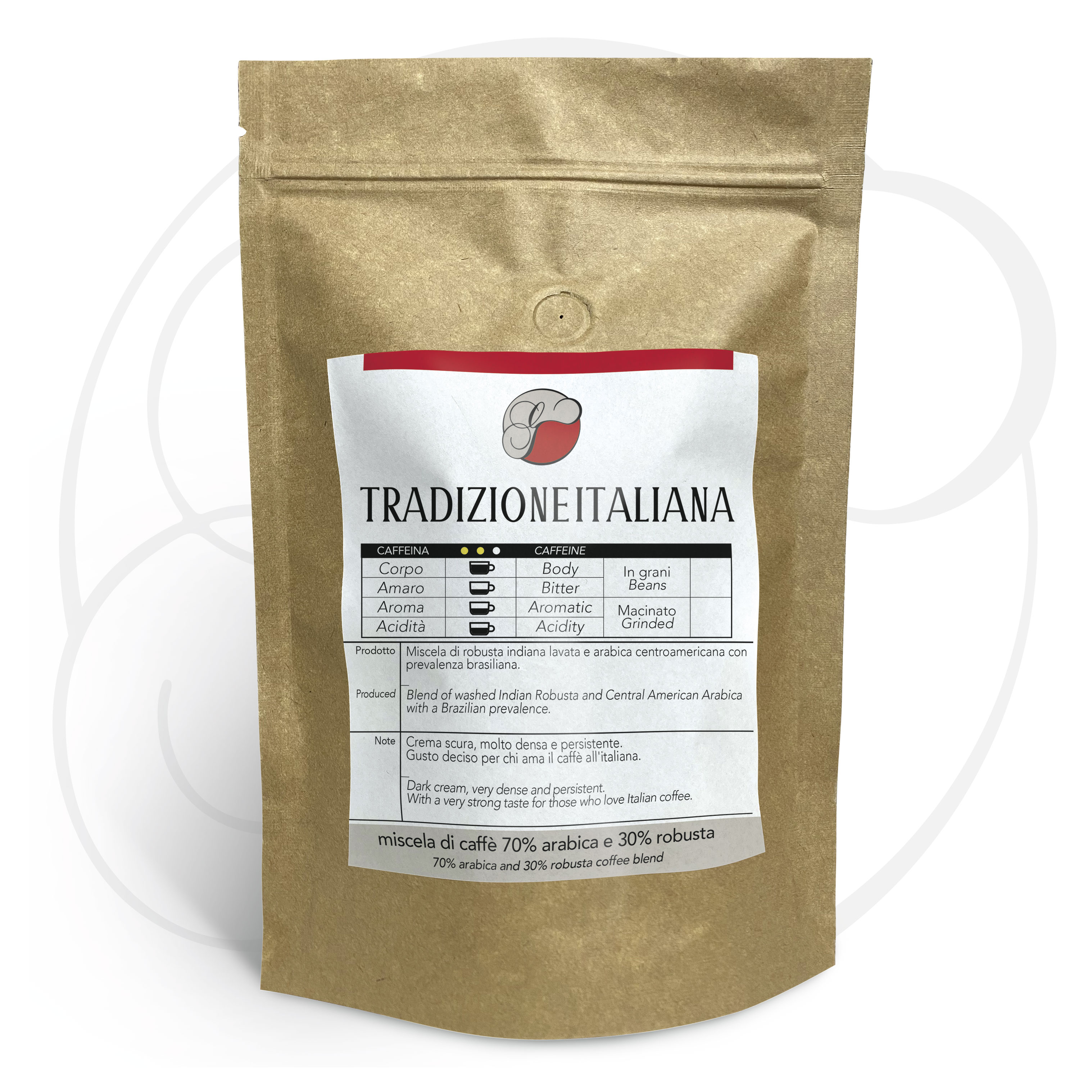 Miscela di caffè Tradizione Italiana (70% arabica 30% robusta) macinato per moka ed espresso confezione da 250 grammi
