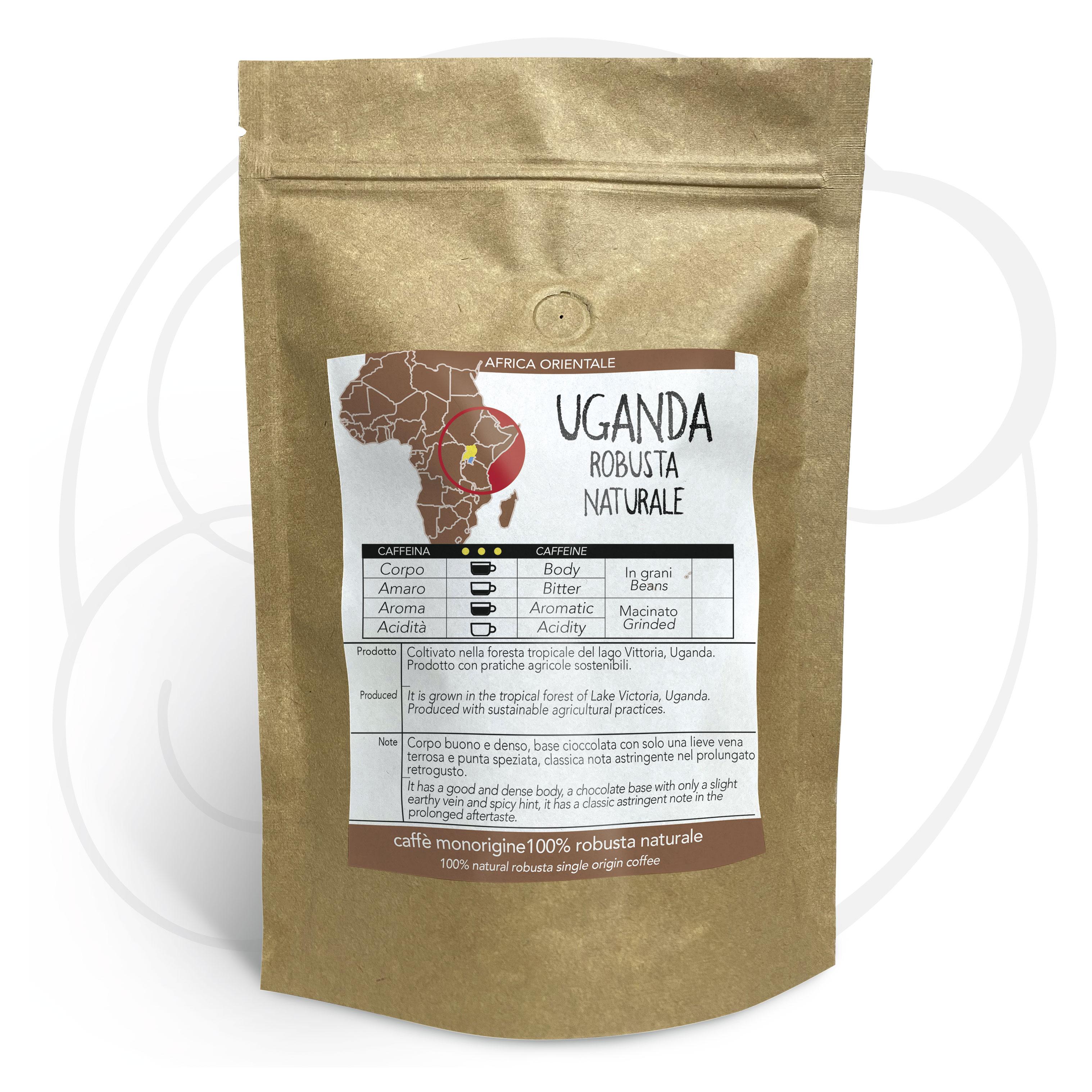 Caffè monorigine Uganda Robusta Naturale, confezioni da 250 gr e 1kg