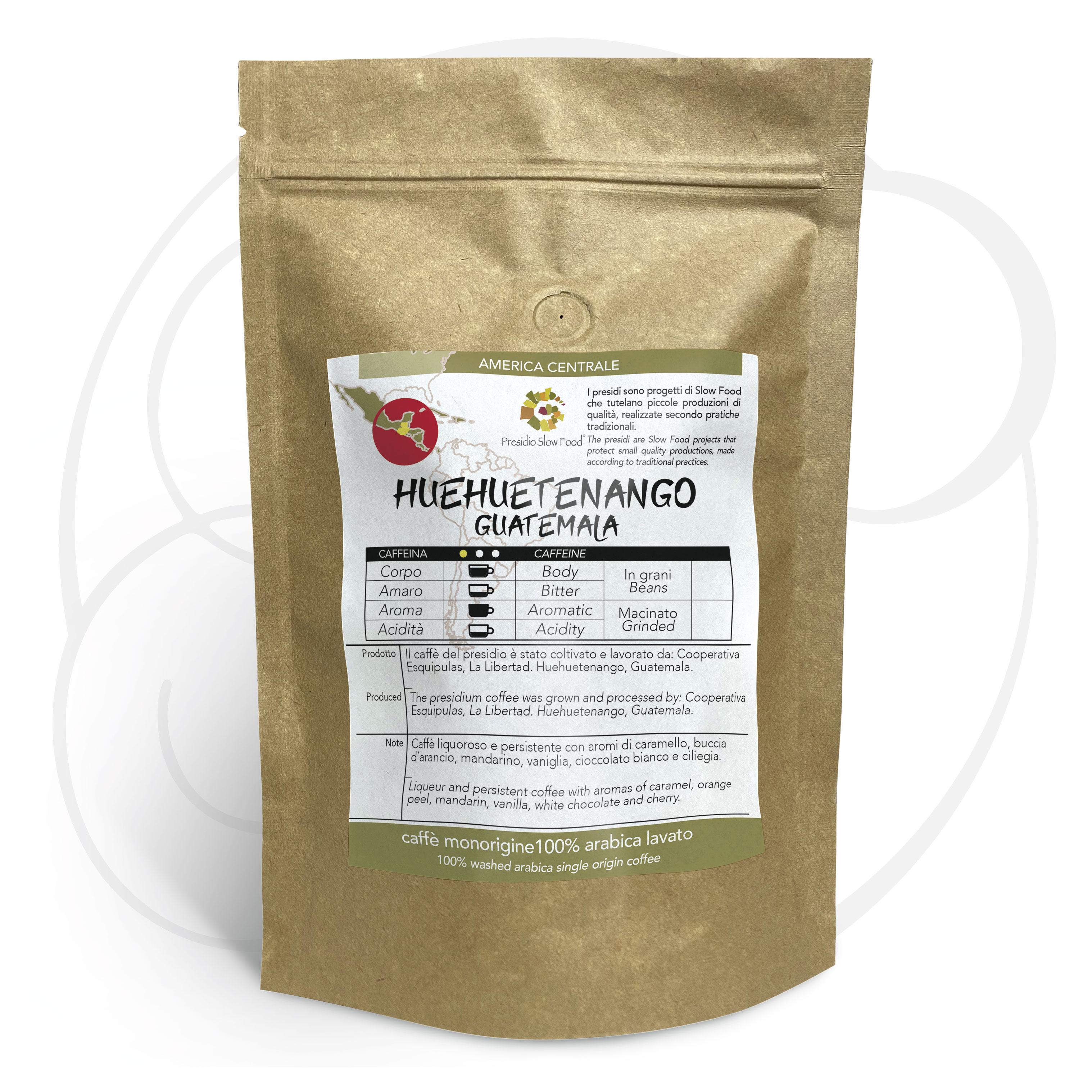 Caffè monorigine Guatemala Huehuetenango Presidio Slow Food , confezione da 250 gr e 1kg