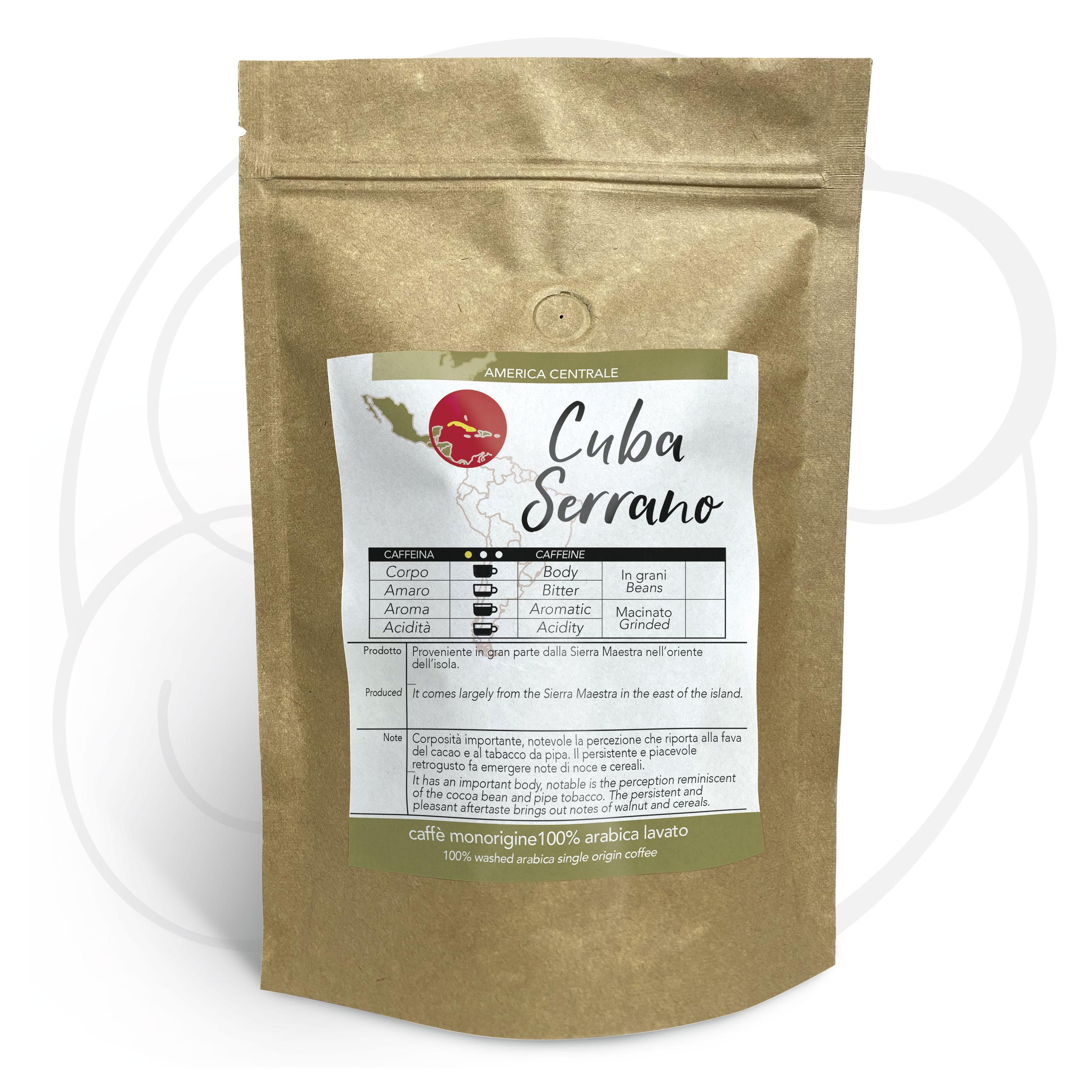 Caffè Cuba Serrano macinato, confezioni da 250gr e 1kg
