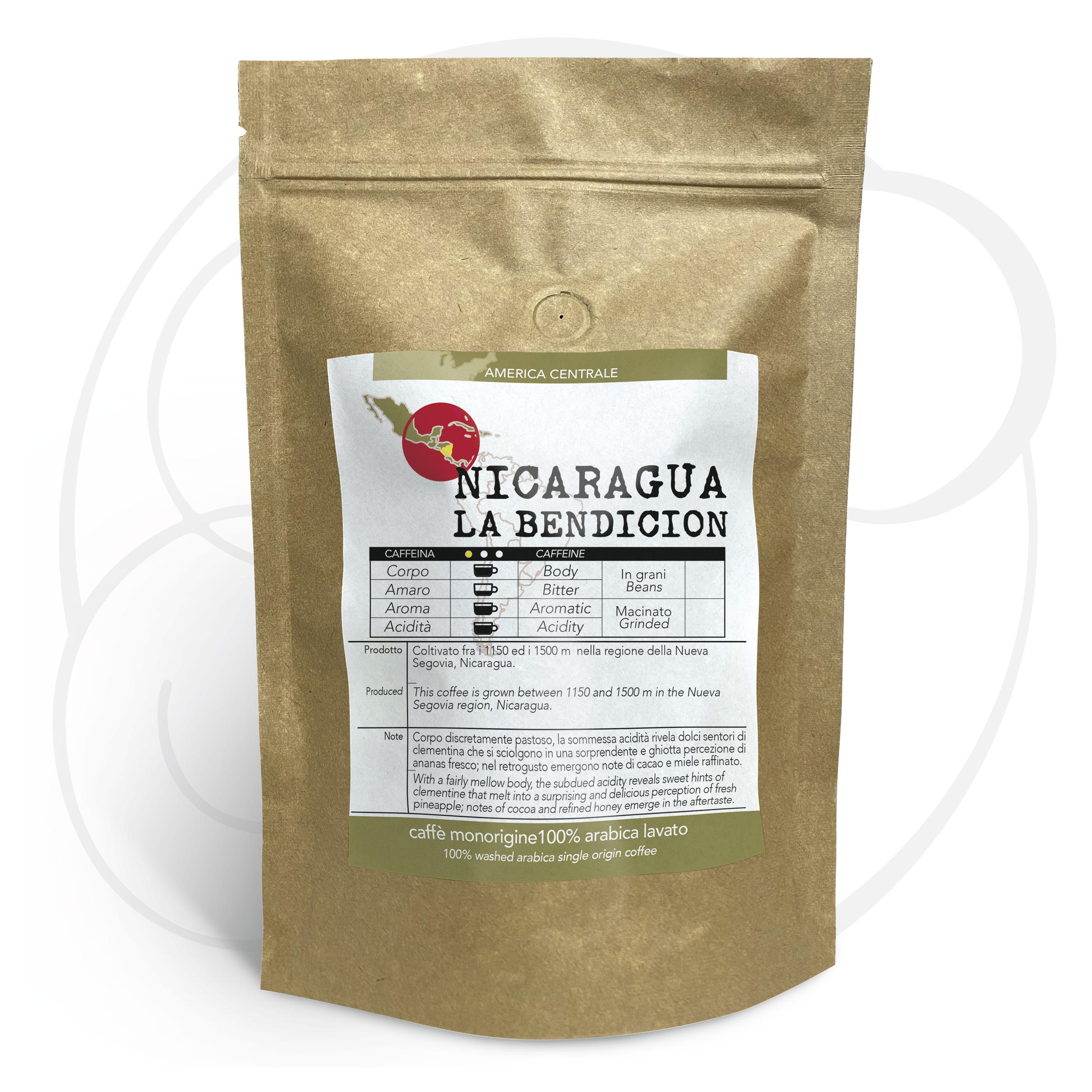 Caffè monorigine Nicaragua - Pacamara La Bendicion macinato, confezioni da 250 gr e 1kg
