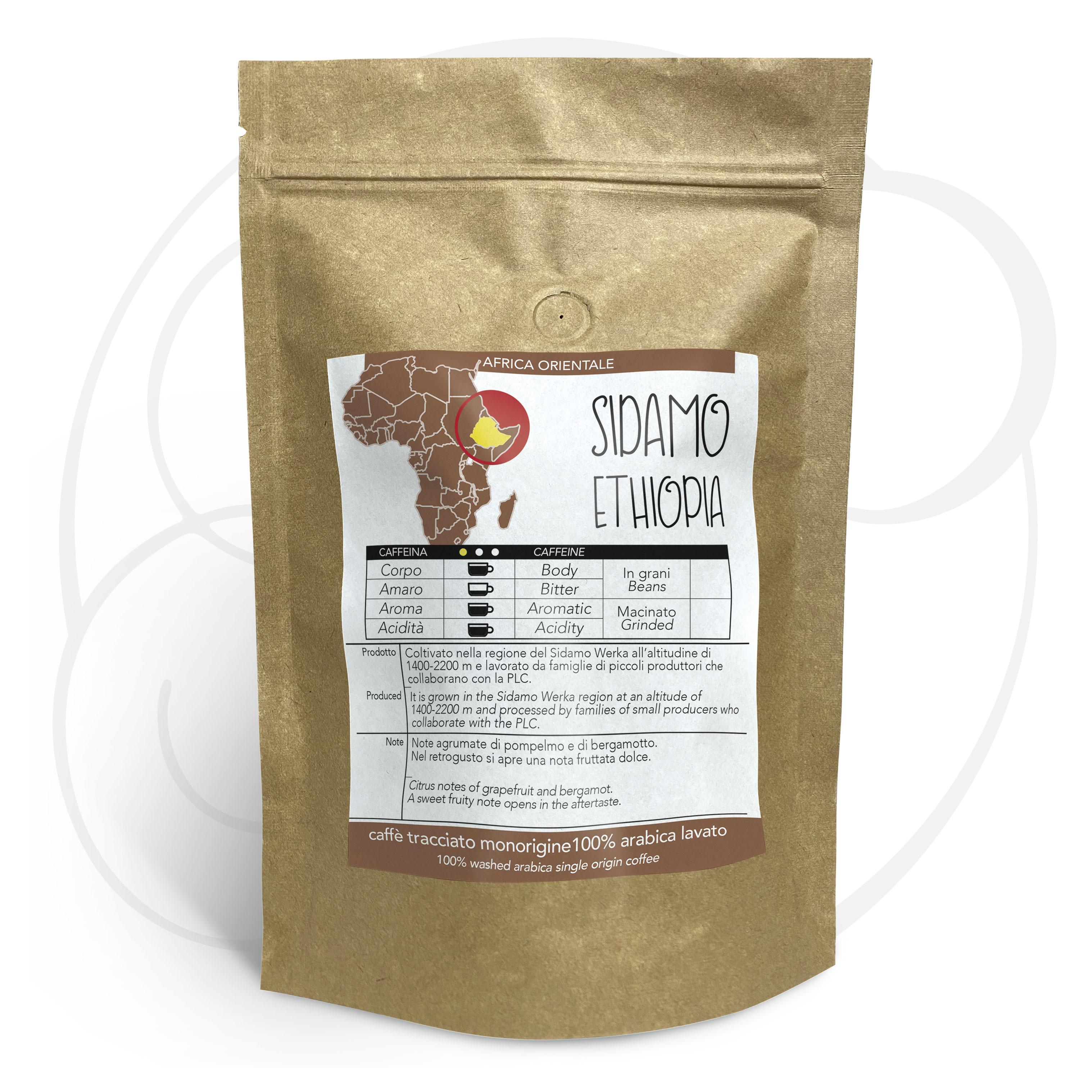 Caffè monorigine Etiopia Sidamo macinato per moka ed espresso confezione da 250 grammi