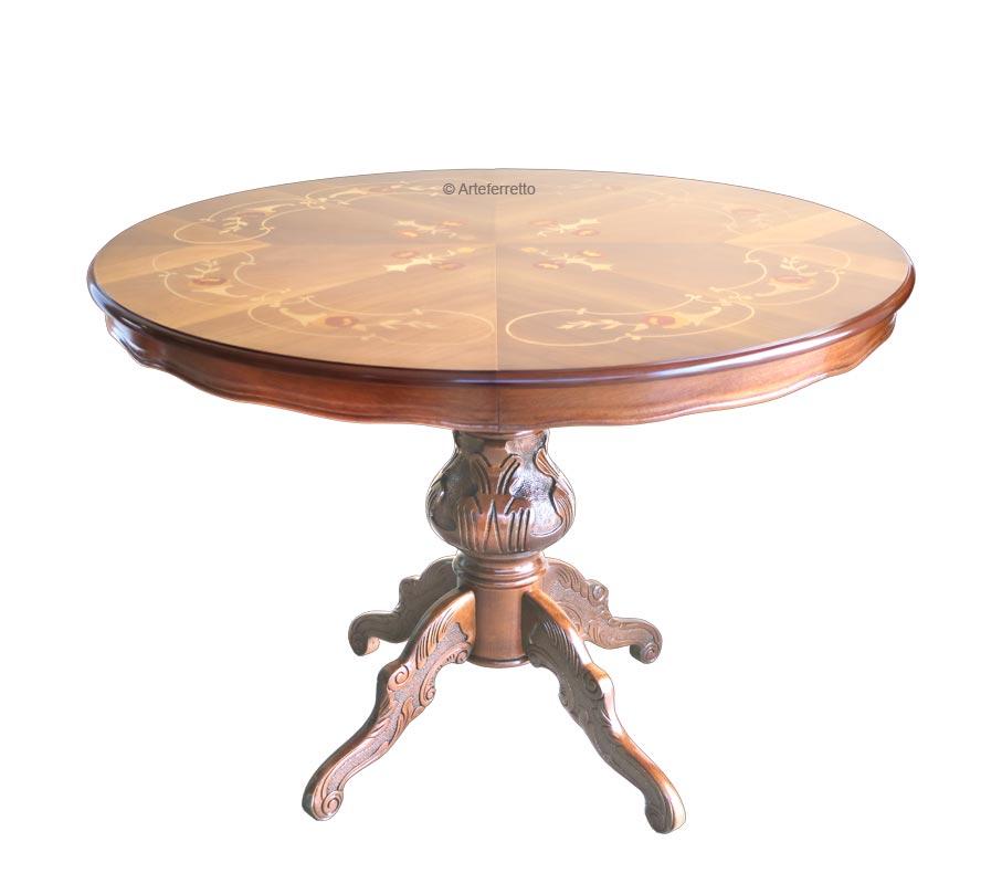 Tavolo intarsiato rotondo diametro 120 cm