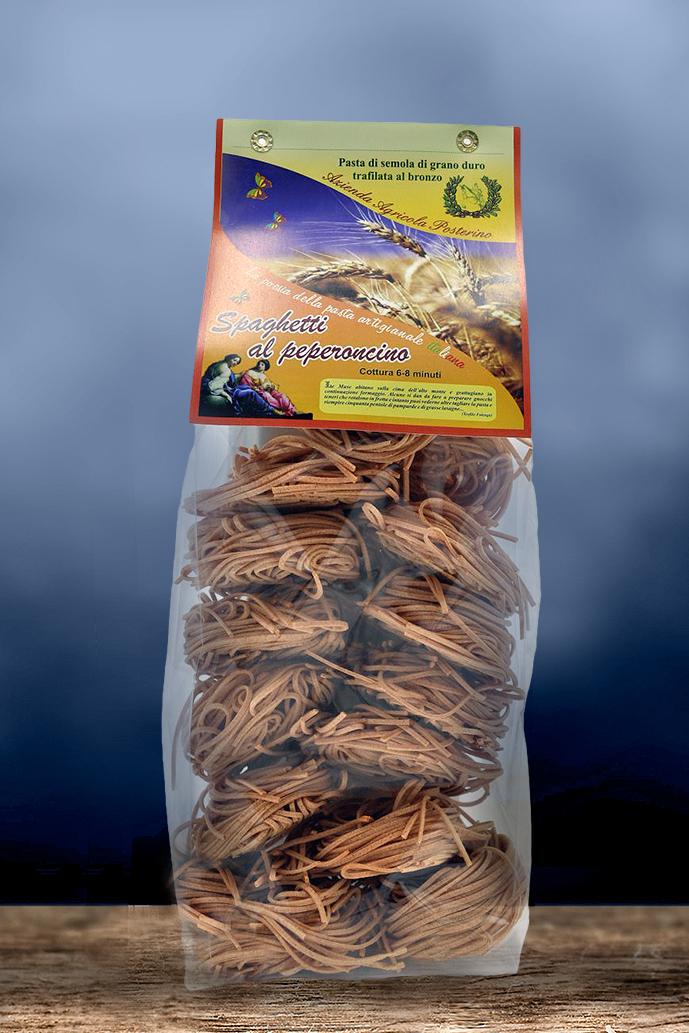 Spaghetti artigianali al Peperoncino trafilati al bronzo 100% ita gr 500
