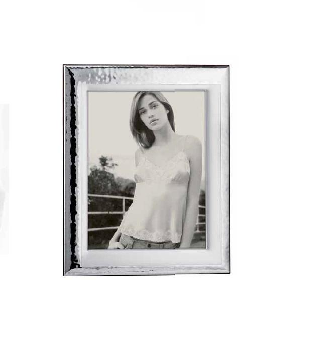 RANIERI - portafoto 20x25 Argento Laminato - retro legno