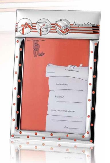 RANIERI - Portafoto Laurea 13x18 argento  retrolegno