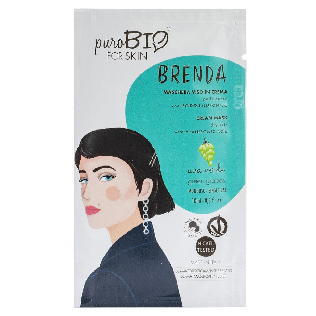 Puro Bio, BRENDA Maschera Viso in Crema Pelle Secca - UVA VERDE