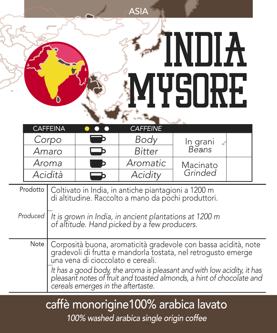 Caffè monorigine in cialda India Mysore, confezioni da n. 50 e 200 cialde in carta ese 44 mm