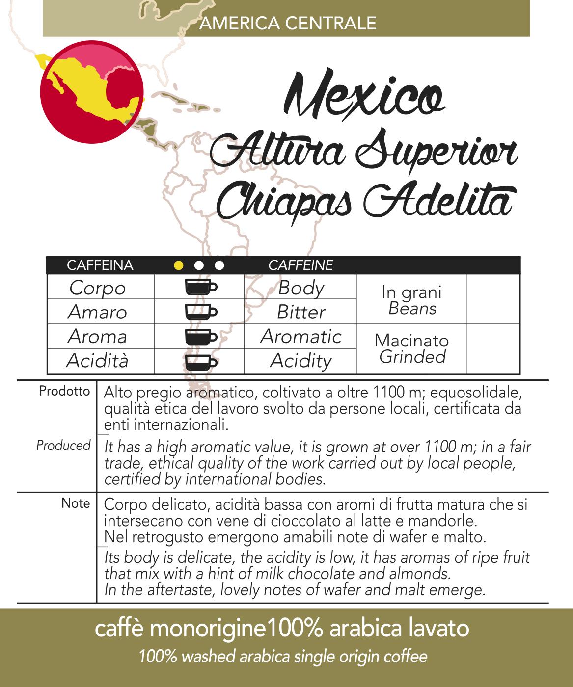 Caffè monorigine in cialda Mexico Altura Superior Chiapas Adelita confezioni da n. 50 e 200 cialde in carta ese 44 mm