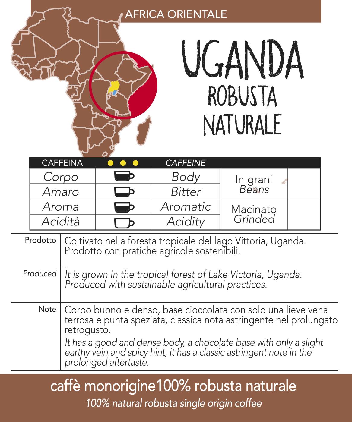 Caffè monorigine in cialda Uganda Naturale, confezioni da n. 50 o 200 cialde in carta ese 44 mm