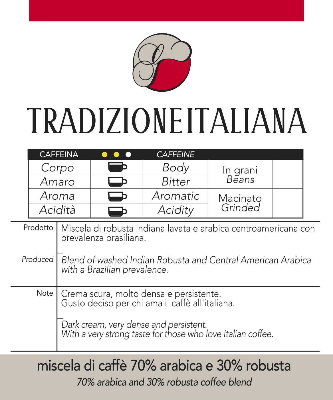 Miscela di Caffè in cialde Tradizione Italiana, confezione da n. 100 cialde in carta ese 44 mm