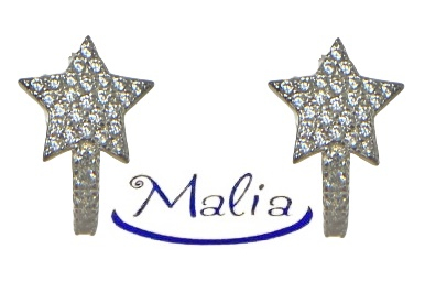 Orecchini a cerchio in argento 925 rosè o bianco a forma di stella