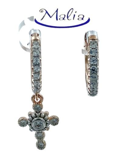 Orecchini a cerchio in argento 925 rosè con ciondolo a croce e zirconi