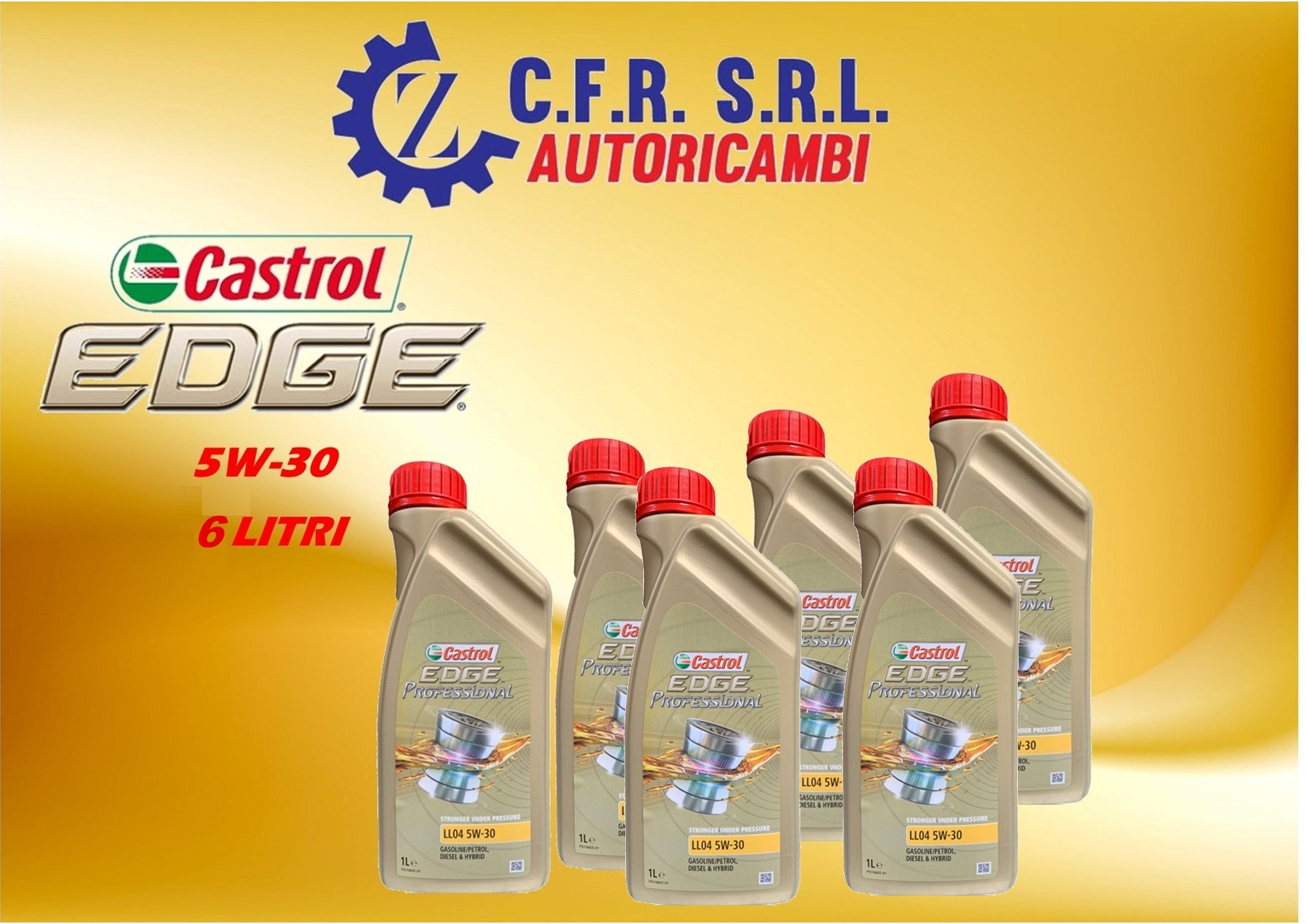 6PZ OLIO LUBRIFICANTE CASTROL EDGE 5W-30 LL04