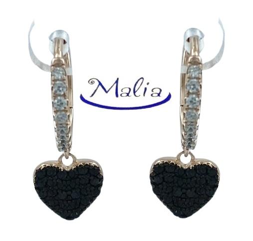 Orecchini a cerchio in argento 925 rosè o bianco con pendente a forma di cuore