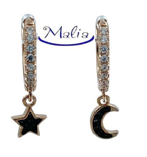 Orecchini a cerchio in argento 925 rosè o bianchi con luna e stella