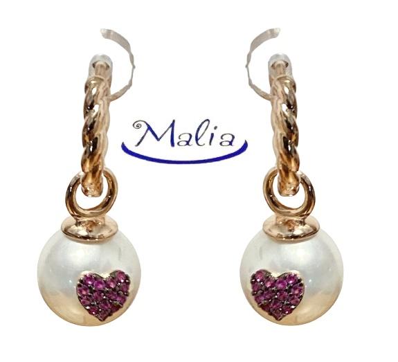 Orecchini a cerchio in argento 925 rosè con perla
