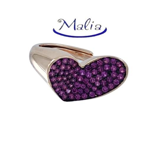 Anello in argento 925 rosè a forma di cuore oblungo, con pavé di zirconi
