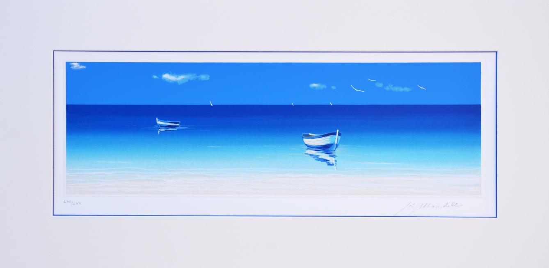 Mondelli Giò Barche nel blu Serigrafia e Litografia Form. cm 33x76
