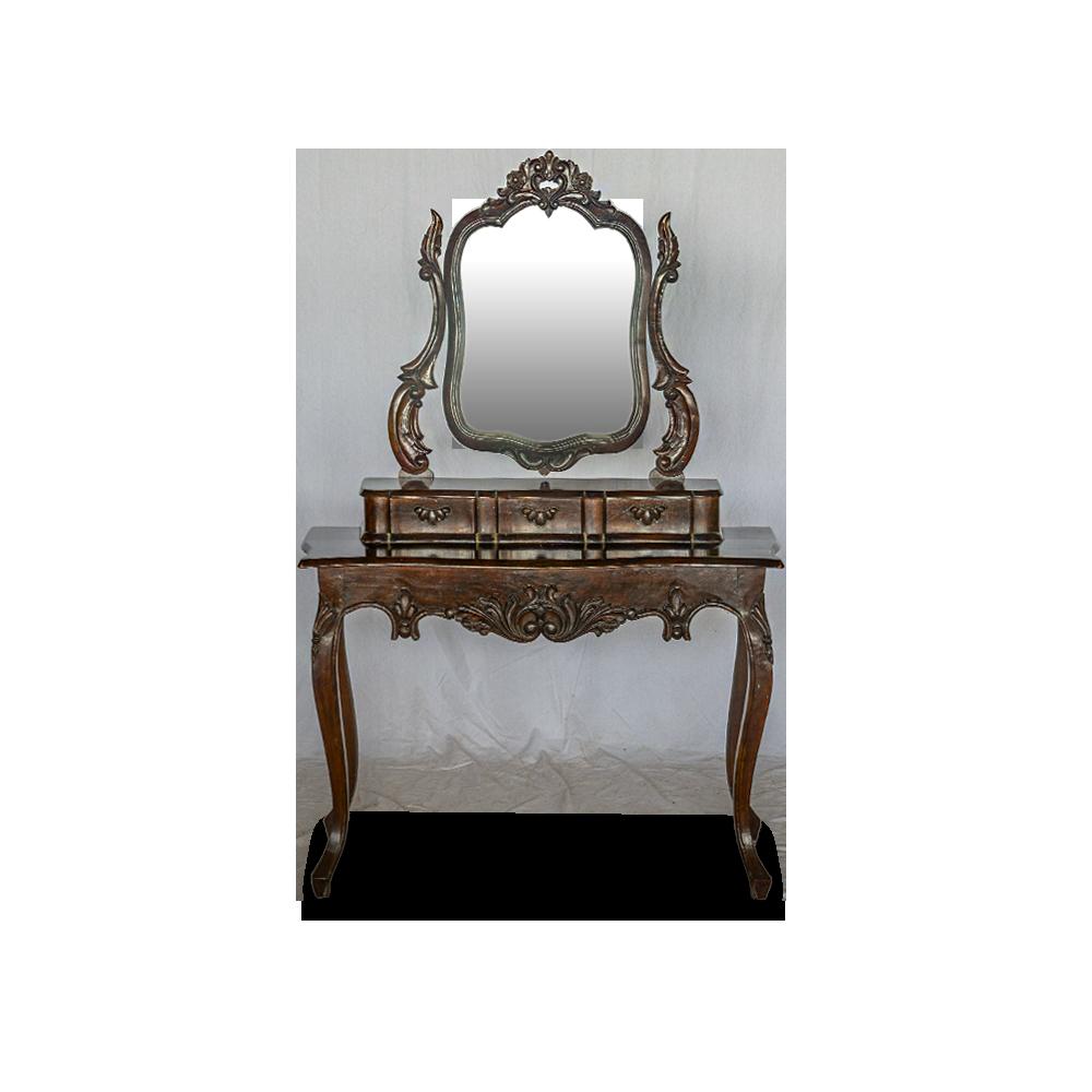 Mobile petineuse con specchiera in legno di teak lavorato a mano