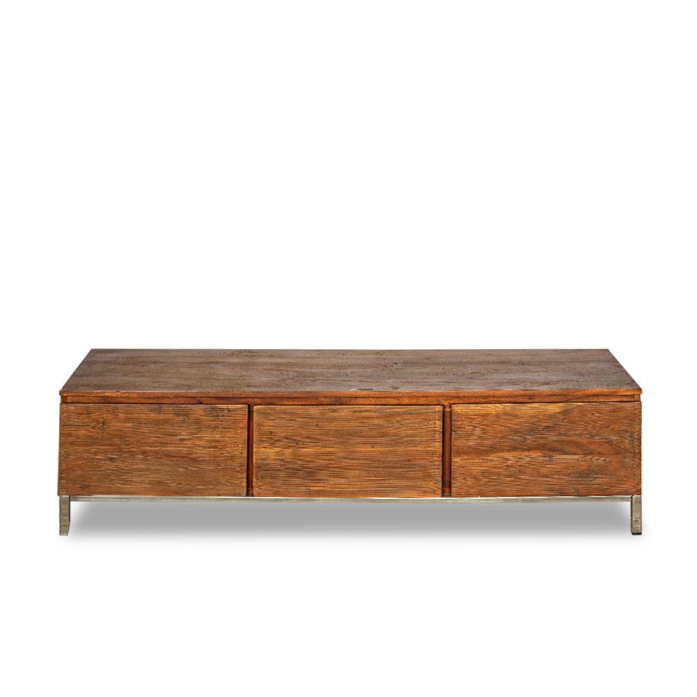 Porta TV con 3 cassetti in legno di palissandro indiano opaco con gambe in acciaio inox