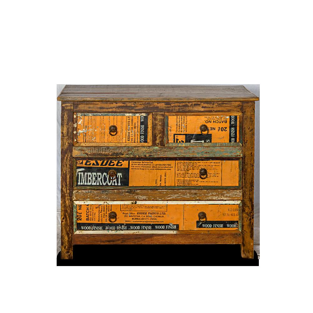 Cassettiera in legno di teak con 4 cassetti parte frontale latta recuperata dai bidoni cera finitura mobili