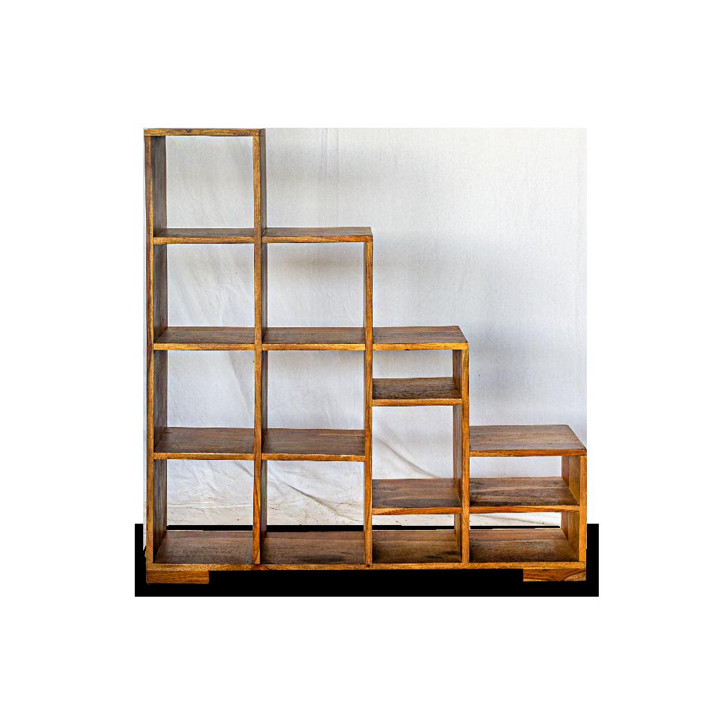 Libreria a scaletta in legno di sheesham (palissandro indiano) finitura naturale